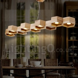 7 Light Wood Dining Room Living Room Bedroom LED Modern/ Contemporary Pendant Light