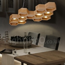 6 Light Wood Dining Room Living Room Bedroom LED Modern/ Contemporary Pendant Light