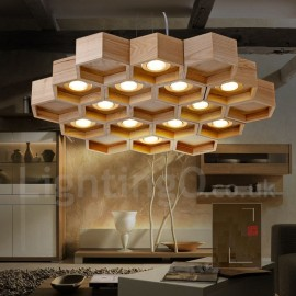 12 Light Wood Dining Room Living Room Bedroom LED Modern/ Contemporary Pendant Light