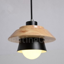 Metal Wood 1 Light Pendant Light for Dining Room Living Room Bedroom
