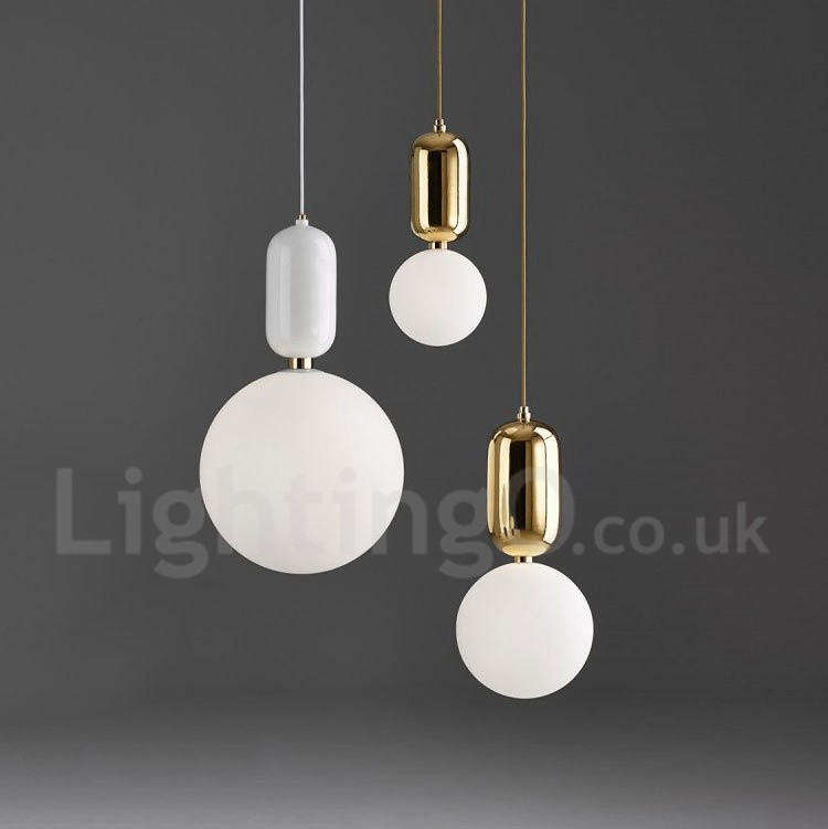 LED Modern Contemporary Dining Room Bedroom Pendant Light With Glass Shade