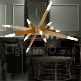 Modern/ Contemporary Dining Room Living Room LED Wood 12 Light Pendant Light
