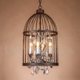 Retro / Vintage Metal 4 Light Birdcage Pendant Light for Dining Room Living Room Bedroom Lamp