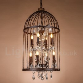 Retro / Vintage Metal 8 Light Birdcage Pendant Light for Dining Room Living Room Bedroom Lamp