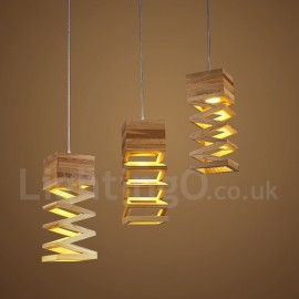Modern/ Contemporary Wood LED Pendant Light for Dining Room Living Room Bedroom Lamp