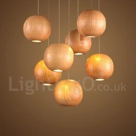 Rustic / Lodge Wooden Living Room Bedroom Dining Room LED Globe Pendant Light