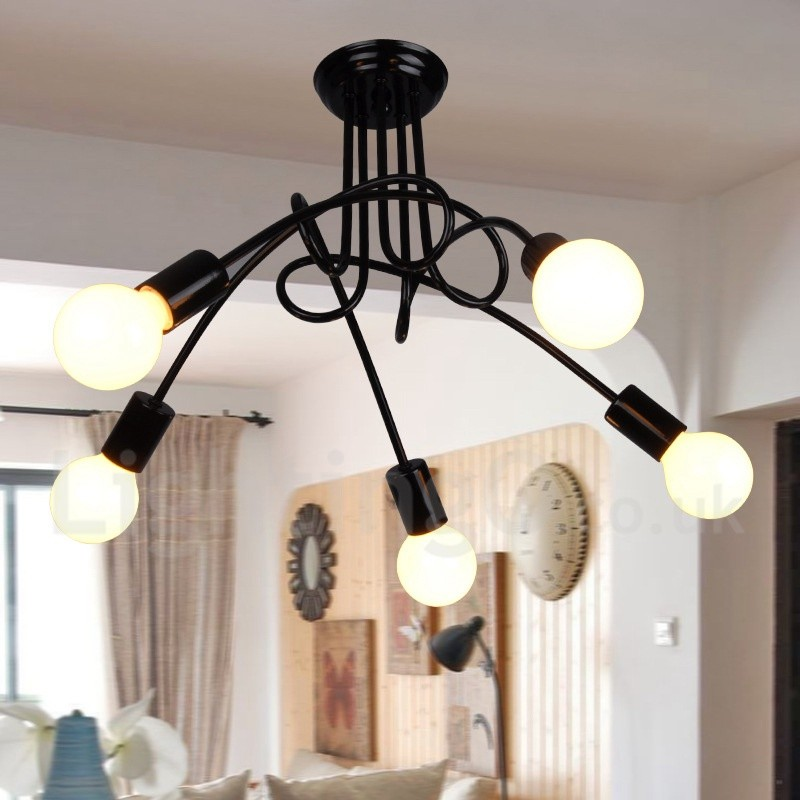 Black Country Metal Living Room 5 Light Dining Chandeliers For Bedroom