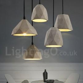 Vintage Bedroom Dining Room Concrte 1 Light Pendant Light for Study Room/Office Lamp