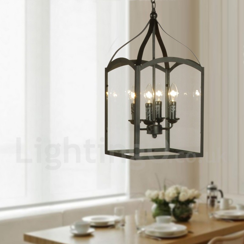 4 Light Black Metal Rustic Lodge Pendant Light With