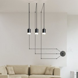 For Dining Room Living Room Bedroom 3 Light Black Pendant Light with Glass Shade