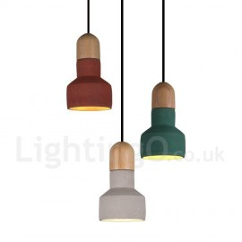 Vintage Dining Room Wood Concrte Multi Colors Pendant Light for for Study Room/Office Lamp