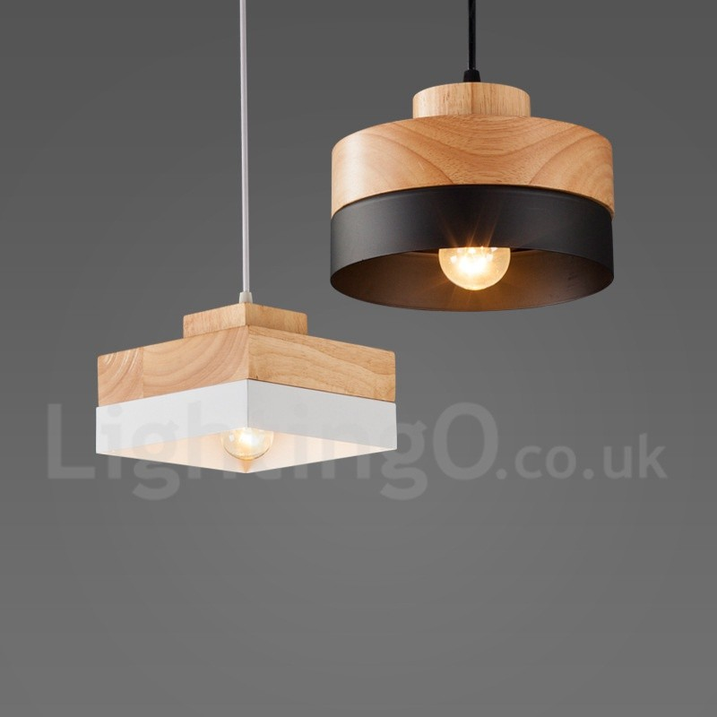 Modern Contemporary Wood Dining Room Living Room Metal Wood Pendant Light