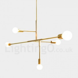 Modern/ Contemporary Copper Bedroom Dining Room 5 Light Chandeliers for Living Room Lamp