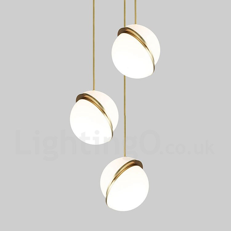 Modern Contemporary Copper LED Pendant Light With Glass