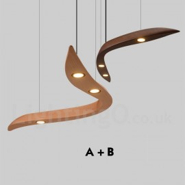 Modern/ Contemporary LED Wood 3 Light Pendant Light for Living Room Dining Room