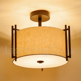 Rustic / Lodge Metal Drum Pendant Light with Fabric Shade for Living Room Dining Room Bedroom