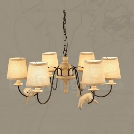 6 Light Rustic / Lodge Vintage Pendant Light for Living Room Bedroom Dining Room