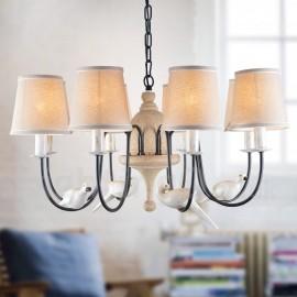 8 Light Rustic / Lodge Vintage Pendant Light for Living Room Bedroom Dining Room