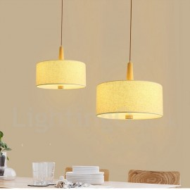 Wooden Bedroom Dining Room Modern/ Contemporary Drum Pendant Light with Fabric Shade