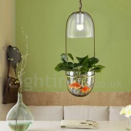 Rustic / Lodge Metal Dining Room Glass Pendant Light