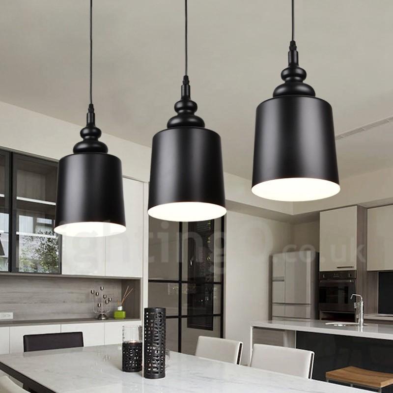 Black Modern Contemporary 3 Light Pendant Light For