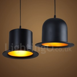 Black Metal Hat Shape 1 Light Retro / Vintage Pendant Light for Dining Room Living Room Bedroom Lamp