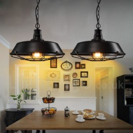 Retro / Vintage Black Metal Pendant Light