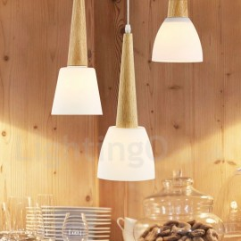 Rustic / Lodge Wooden Bedroom LED Dining Room Pendant Light with Glass Shade