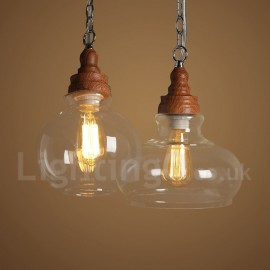 Retro / Vintage Pendant Light with Glass Shade for Dining Room Living Room Bedroom Lamp