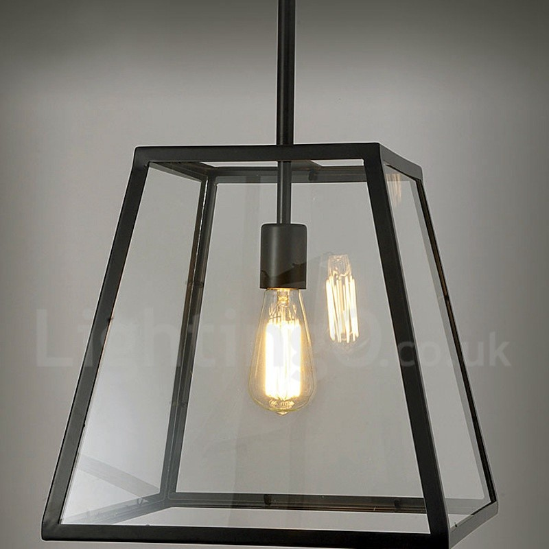 Vintage metal living room dining room bedroom pendant light with glass shade for Pendant lighting living room