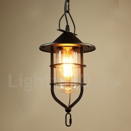 Vintage Metal Dining Room Bedroom Pendant Light with Glass Shade