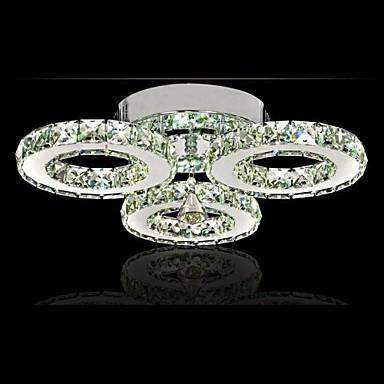LED Crystal Flush Mount, 3 Lights, Modern Transparent Electroplating Stainless Steel