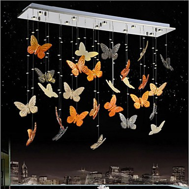 LED Living Room Dining Room Lamp Pendant Butterfly Crystal Lamp