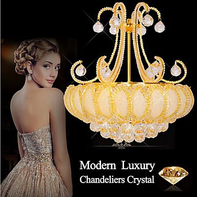 Modern Luxury Chandeliers Crystal Living Room LED Pendant Light Diameter 50CM Contains 8 LED Bulbs