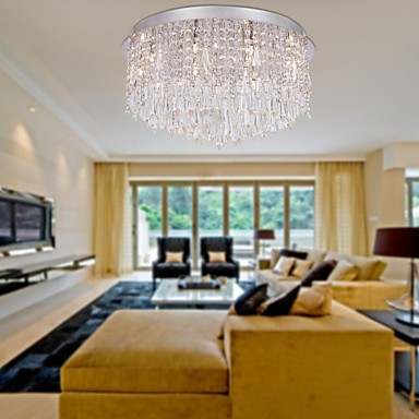 Max 20W Modern/Contemporary Crystal / Bulb Included Chrome Flush Mount Living Room / Bedroom / Dining Room