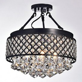 MAX:60W Traditional/Classic Crystal Painting Metal Flush Mount Living Room / Bedroom / Dining Room / Study Room/Office / Entry