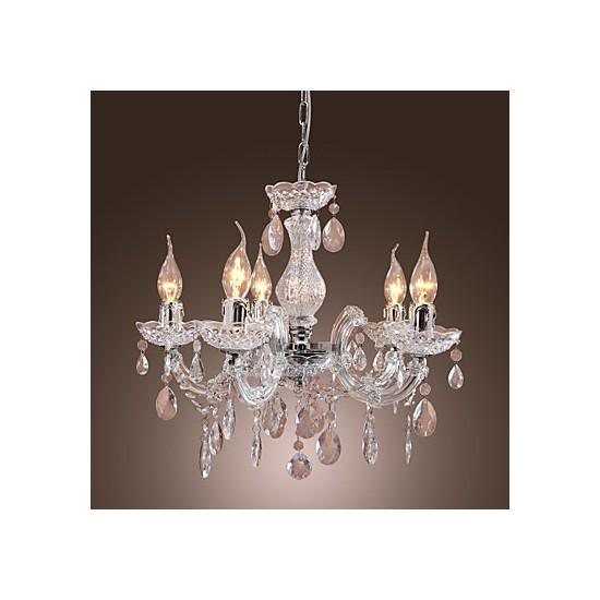 Candle Light Fixture: New Upligh Chrome Ceiling Lamp 5 Candle Light Acrylic