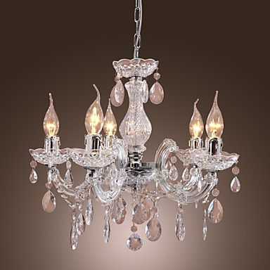 New Upligh Chrome Ceiling lamp 5 Candle light Acrylic Fixture Chandelier Pendant