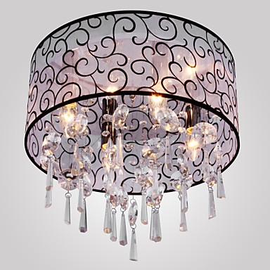 Max 40W Modern/Contemporary / Drum Crystal Electroplated Metal Flush Mount Living Room / Bedroom