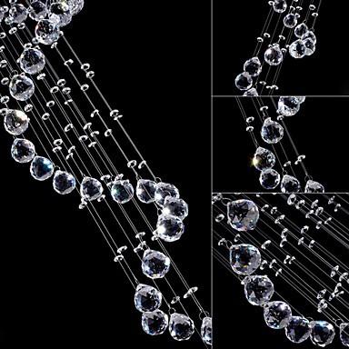 LED Crystal Pendant Lights Chandelier Lighting 5 Lights Silver Canpoy Clear K9 Crystal Helix Ceiling Lamps H180CM