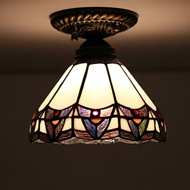 E27 220V 20*17CM European Rural Creative Arts Stained Glass Absorb Dome Lamp Led Light