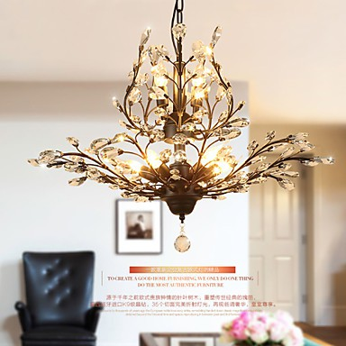 Vintage Crystal Flush Mount/E12/E14 8Lights/Metal Painting/ Living Room / Bedroom / Black OR Gold