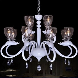 European Style Crystal Droplight Individuality Creative Swan Hotel 12 Light Chandeliers