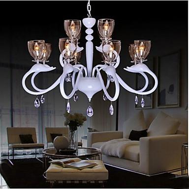 European Style Crystal Droplight Individuality Creative Swan Hotel 12 Light Chandeliers