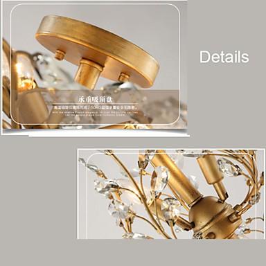 E12/E14 MAX40W Vintage Crystal Flush Mount/Metal Painting/ Living Room / Bedroom / Black OR Gold
