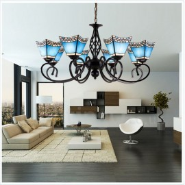 8 Light Mediterranean Style LED Integrated Living Room,Dining Room,Bed Room Metal Chandeliers