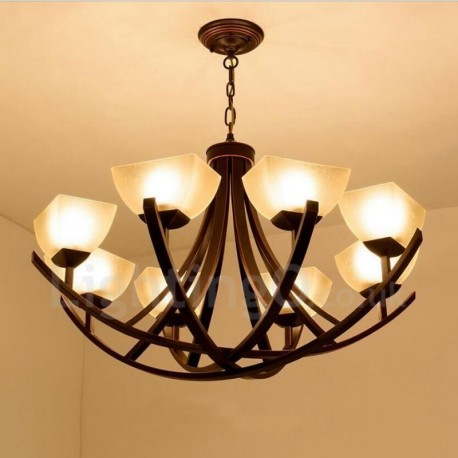 8 Light Rustic Lodge Led Integrated Metal Chandeliers