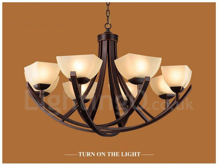 8 Light Rustic/Lodge LED Integrated Metal Chandeliers
