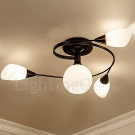 4 Light Rustic/Lodge LED Integrated Living Room,Dining Room,Bed Room E27 Chandeliers with Glass Shade