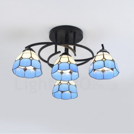 4 Light Mediterranean Style LED Integrated Living Room,Dining Room,Bed Room E27 Chandeliers